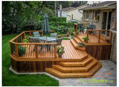 Stain on a deck will just persist for a few decades. Patio decks are normally made of wood and wood pallets. The deck has turned into a revered outdoor space of the contemporary American home. If your deck is made… Continue Reading → Patio Plan, Deck Plans, Budget Patio, Pergola Plans, Two Level Deck, 2 Level Deck Ideas, 2 Tier Deck Ideas, Pool And Deck Ideas, Multi Level Decks