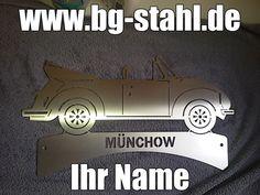 Edelstahlschilder - Edelrost -  Dekosäulen - individuell www.bg-stahl.de  VW Käfer Cabrio aus Edelstahl mit Ihrem Namen.