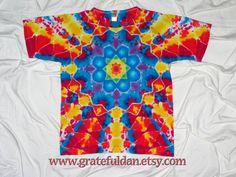 Small Ladies Scoop Neck Tee Tie Dye Mandala by by GratefulDan, $30.00