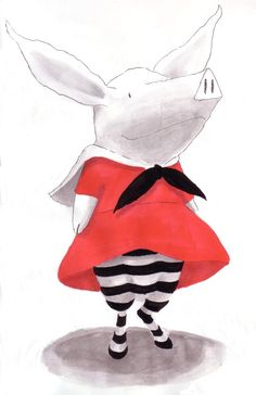 """Olivia the Pig is one of my favorite children's books. I actually have the poster for """"Olivia Saves the Circus"""" hanging in my bedroom. I love how all the illustrations are in black and white and there is added pops of red"""