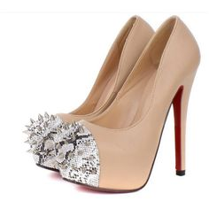 Buy Gorgeous Snake Grain Rivet Embellished High-heeled Shoe Apricot... via Polyvore