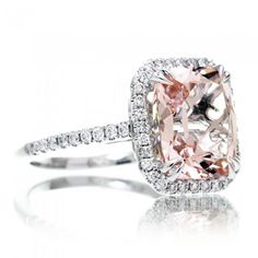 Morganite engagement ring 10x8 cushion diamond halo cathedral setting. Like the color