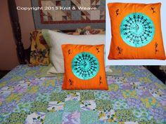 Cotton cushion covers hand painted Warli art.