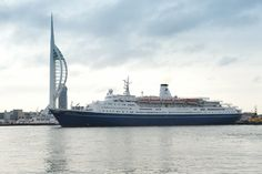 Marco Polo cruising past the Spinnaker Tower on her way to port.