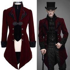 Burgundy Velvet Double Breasted Victorian Gothic Dress Trench Coat Men SKU-11401104