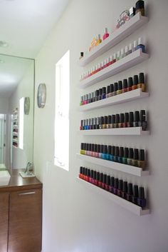 Closet racks of nail polishes - Google Search