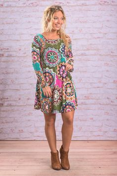 Forever Fun L/S Dress, Teal