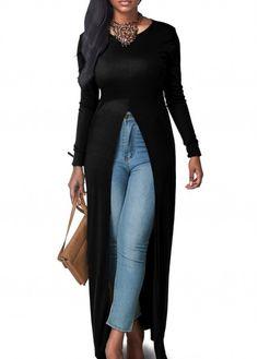 High Slit Black Long Sleeve Maxi Blouse