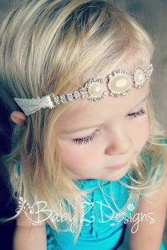 Pearl Rhinestone and Cream Lace Headband by babyzdesigns  Great for weddings, photo shoots, birthdays, or other special occasions!