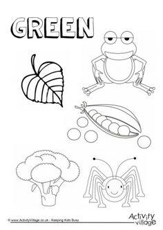Green color word worksheet Preschool coloring pages