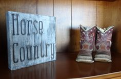 Horse Country~Rustic painted wood block by CherryCreekCrafts on Etsy