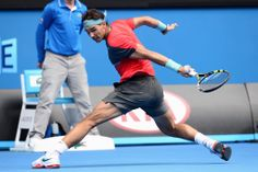 """Relentless Rafa wears down Nishikori / Australian Open / Monday, 20 January, 2014 / """"But Nadal was more than up to the challenge. He scampered back and forth so much the painted 'Melbourne' sign on the Rod Laver Arena court was in danger of being worn out."""" Darren Saligari"""