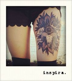 Thigh tattoo. Ram skull. Like the tattoo just not sure about putting it on the thigh.