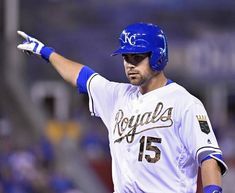 Kansas City Royals' Whit Merrifield celebrates his single in the eighth inning that advanced Alcides Escobar to third during Monday's baseball game against the Tampa Bay Rays on May 30, 2016 at Kauffman Stadium in Kansas City, Mo.