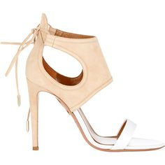 """Aquazzura """"She's Divine"""" Sandals ($695) ❤ liked on Polyvore featuring shoes, sandals, heels, white, white leather sandals, leather lace up sandals, heeled sandals, leather shoes and leather sole shoes"""