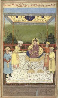 Abul Fazl presenting the Akbarnama as far as his year to Akbar Mughal Miniature Paintings, Mughal Paintings, Turkic Languages, Semitic Languages, Golden Horde, Blue Green Eyes, Indian Language, Mughal Empire, Medieval Manuscript