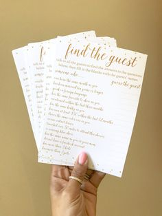 Let your guests mix and mingle with this super fun Find the Guest game! This can be played at a bridal shower or baby shower! #bridalshowergame #babyshowergame #bridalshowerideas #babyshowerideas