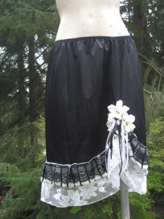 Beautiful Black and White Upcycled slip skirt with Ruffled Hem and Embellished Flowers by getjuliet, $45.00