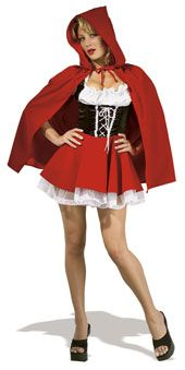 Little Red Riding Hood Costume   Sexy secret wishes costume COSTUME INCLUDES:- HOODED CAPE AND DRESS  includes attached petticoat Costume is available in three sizes  http://www.completelybonkers.co.uk/fancy-dress-costumes-female/little-red-riding-hood-secret-wishes