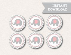 Instant Download Little Elephant Pink Grey Chevron Baby Shower Birthday Party Printable Cupcake Toppers
