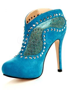 Women's #Fashion #Shoes: Light Sky #Blue Stiletto Heel Sheepskin Suede Woman's High Heel Booties: #Boots