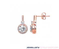 Rose Gold on Silver Cubic Zirconia Fancy Drop Earrings