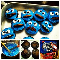 Easy cookie monster cupcakes! Made these for a BF. All you need are cupcake mix, food coloring, his fave icing, his fave cookies, white chocolate chips. #DIY #cupcakes #baking