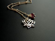 Lotus Sterling Silver Necklace Garnet Gemstones Yoga by omdesigns, $48.00