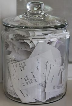Desk Organization: Receipts - Whenever I come home from shopping, all I have to do is stuff the receipts in the jar. This lady's got a system that would work for any home office without a business. Home office Organisation Hacks, Receipt Organization, Home Office Organization, Storage Organization, Organizing Ideas, Organising, Organizing Solutions, Desk Storage, Office Home