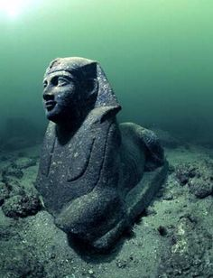 Tumblr pearl-nautilus: Lost for 1,600 years, the royal quarters of Cleopatra were discovered off the shores of Alexandria, marine archaeologists, began excavating the city in 1998. Submerged by earthquakes and tidal waves, yet,  several artifacts remained largely intact.The foundations of the palace, shipwrecks,  columns, statues of the goddess Isis and a sphinx.