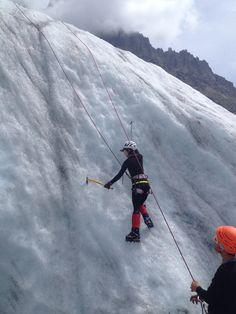 Montblanc trip 2014: Gina ice climbing Mer de Glace