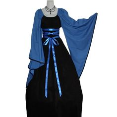 Also comes in Black with Hunter Green, White, Burgundy, Purple (M L only) [-$15], or Navy sleeves (XS XL only) -  $95 Black and blue ribbon Chemise Gown as pictured