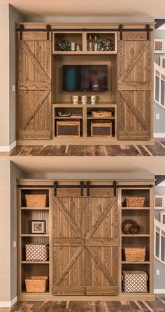 Barn Door Projects that Will Make You Want to Remodel Bookshelves and sliding-door entertainment center. Old style stain techniqueBookshelves and sliding-door entertainment center. Old style stain technique Rustic House, House Design, Sweet Home, Home Remodeling, New Homes, Barn Door Projects, Home Projects, Home Decor, House Interior