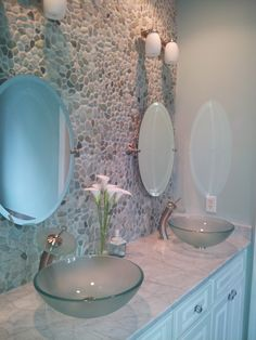 Bathroom DIY   Pebblestone Wall, Glass Vessel Sinks And Waterfall Faucets  With Palladian Blue Benjamin