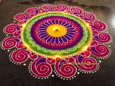 Kolam by Shanthi Sridharan Rangoli Designs Simple Diwali, Indian Rangoli Designs, Rangoli Designs Flower, Free Hand Rangoli Design, Rangoli Patterns, Rangoli Border Designs, Rangoli Ideas, Colorful Rangoli Designs, Kolam Rangoli