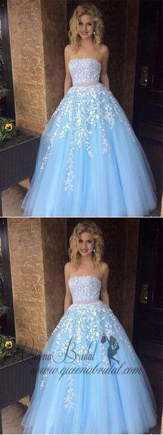 A-line Princess Sky Blue Lace Appliqued Tulle Long Strapless Prom Dresses, QB0340 #prom #promdresses #longpromdresses #prompartydresses