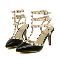 Black T-strap Rivet Strappy Pointed Toe Heels.  Which strap do I fasten first Mom?