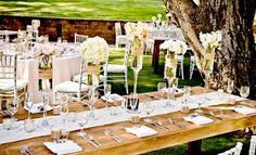 vintage Hochzeit draußen Ideen Deko Spitze Tafel Tischläufer