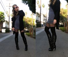 Layered to perfection: slouch boot>thigh-high>fishnet peekaboo>drapey black/neutral