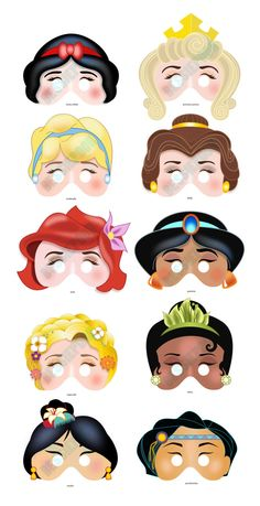 DISNEY PRINCESS PARTY Printable Mask Collection. Includes all 10 masks. Photo booth prop. Disney Snow White, Belle, Ariel, Rapunzel, Mulan.
