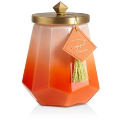 Illume Grapefruit Oleander Laurel Glass Candle (€33) ❤ liked on Polyvore featuring home, home decor, candles & candleholders, orange, grapefruit candle, illume, illume candles, glass candle and orange home decor