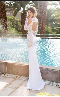 >> Click to Buy << 2016 tulie Vino Beach Wedding Dresses Crew Neck Sheer Long Sleeve Backless Floor Length Summer Vintage Sheath Bridal Gowns #Affiliate