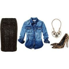 """""""Black Sequin Pencil Skirt - Fashion Blogger Glam"""" by woxy on Polyvore (with low heels)"""