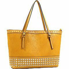 Emperia Large On-The-Go Studded Faux Leather Tote Bag with Gold Accents – Mustard Yellow  $31.00