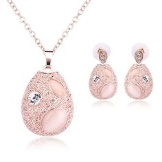 Rose Gold Opal Earring and Necklace Set