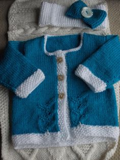Baby Jacket/Cardigan and Headband Teal/Blue & White by ArdSolas, £15.00
