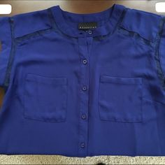 PRICE LOWERED! Beautiful blue blouse! Beautiful blue blouse. Sheer around arms. Buttons down the middle Tops Blouses