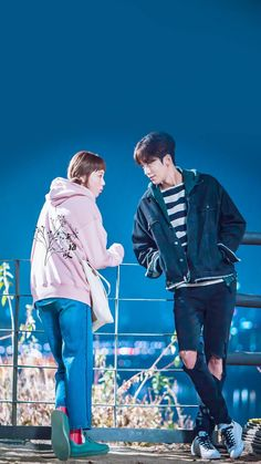 I ship this one! Lee Jong Suk, Nam Joo Hyuk Lee Sung Kyung, Jong Hyuk, Korean Drama Movies, Korean Actors, Korean Dramas, Live Action, Weightlifting Kim Bok Joo, Weighlifting Fairy Kim Bok Joo