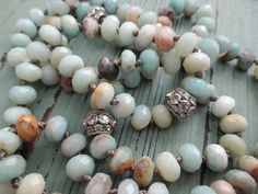 Knotted necklace 'Eternity Sky' earthy pale blue by slashKnots, $97.00