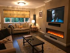 Terrific Screen Electric Fireplace living room Thoughts Adorable 45 Cool Electric Fireplace Designs Ideas For Living Room Fireplace Tv Wall, Fireplace Design, Fireplace Ideas, Modern Fireplace, Living Room Tv, Living Room With Fireplace, Living Room Electric Fires, Chimney Breast, Contemporary Interior Design